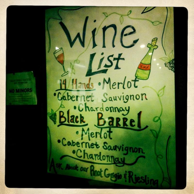 Mmmmm...Wine list at Union Cafe